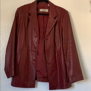 Red/Maroon leather (100%) jacket